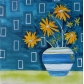 Yellow Flowers in Striped Vase