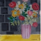 Bouquet in Red Striped Vase